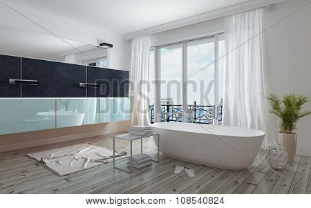 Modern spacious white bathroom interior with a freestanding tub, long mirror and vanity unit and glass doors leading to a patio, daylight. 3d Rendering.
