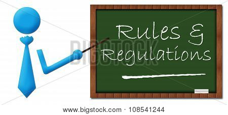 Rules And Regulations Human With Greenboard