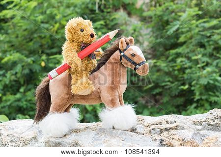 Teddy Bear Ride A Horse In Forest