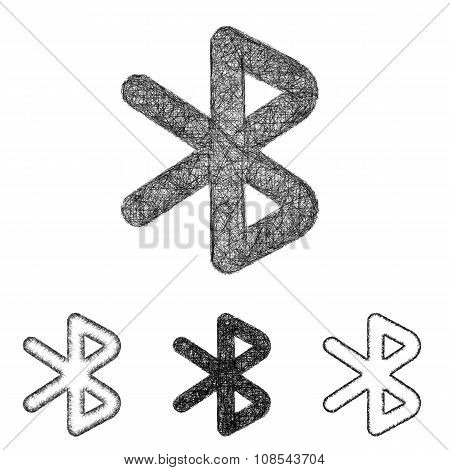 Bluetooth icon set - sketch line art