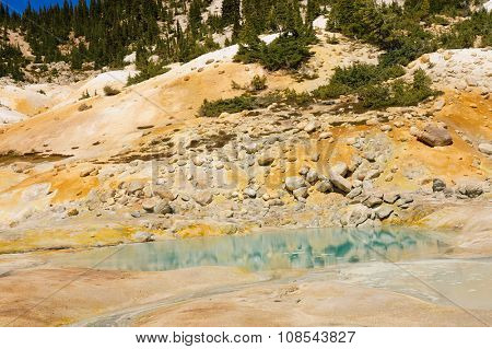 California drought results - Mount Lassen sulpher or sulfur springs and hot steaming mud baths