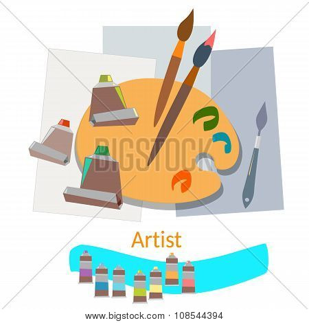 Brushes And Paints Istruments