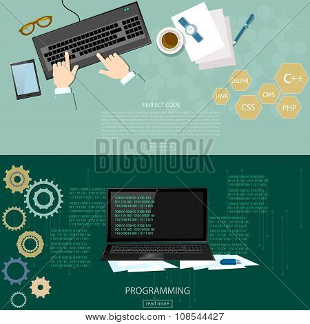 Programming Process Man Writing Programming Code And Data Processing banners