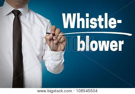 Whistleblower Is Written By Businessman Background Concept