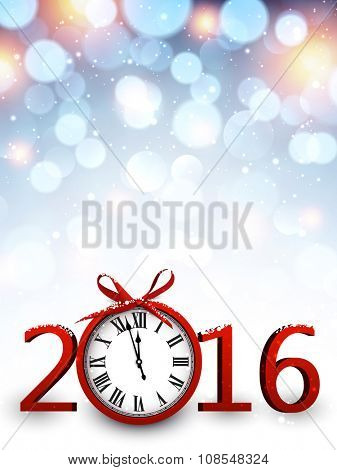 2016 New Year background with clock. Vector paper illustration.