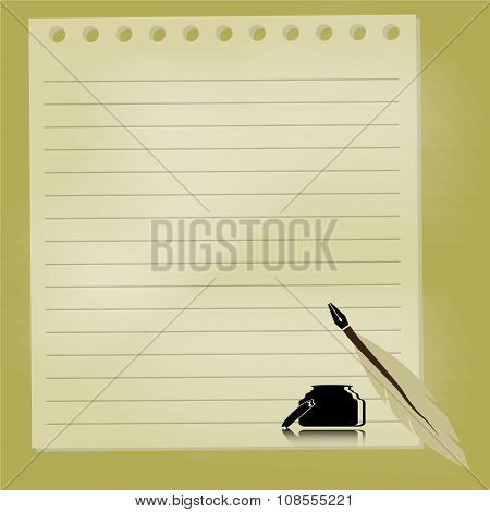 quill pen with chalkboard background vector illustration poster