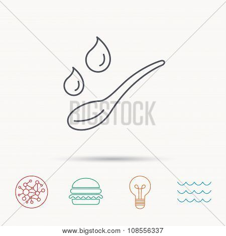 Spoon with water drops icon. Baby medicine dose sign. Child food symbol. Global connect network, ocean wave and burger icons. Lightbulb lamp symbol. poster