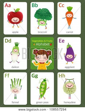 Printable Flashcard English Alphabet From A To H With Fruits And Vegetables