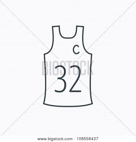 Team captain icon. Basketball shirt sign. Sport clothing symbol. Linear outline icon on white background. poster