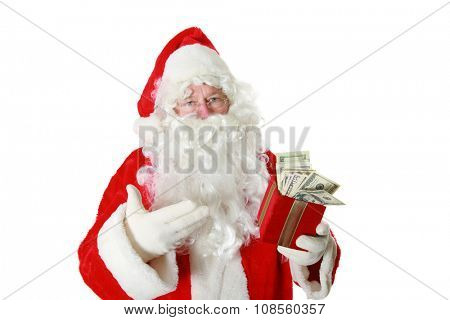 Santa Claus has a gift box filled with money. isolated on white with room for your text