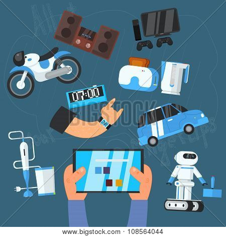 Internet Technology and Devices Icons Set, Vector