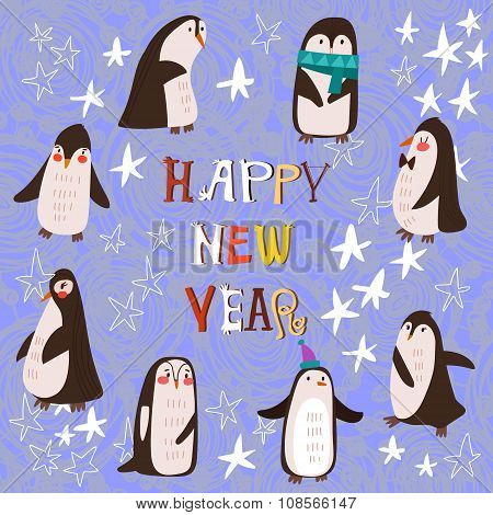 Penguin Set Vector Illustration, With Different  Penguins  In Strars Collection. Sweet  New Year And