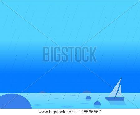 Wallpaper Landscape of Seascape and Sail, Vector Illustration