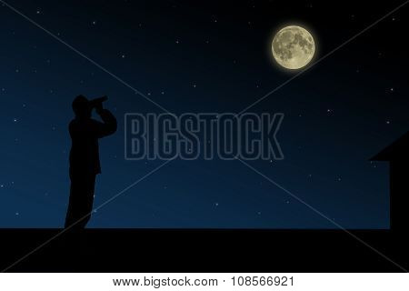 The man on the roof looks through binoculars at the full moon at night