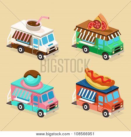 Food Truck Designs. Set of Vector Illustrations.