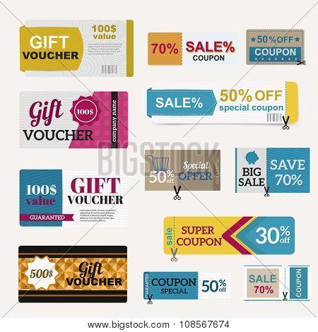 Vector illustration of gift voucher template collection.  Voucher tickets, voucher sale coupon, voucher gift, voucher vector, voucher isolated. Cutline voucher vector symbols. Voucher coupon icons