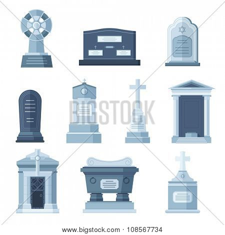 Tombs stone grave vector construction set. Vector tombs icons isolated on white background. Tombs stone grave for dead people. Traditional tombs stone graves from different country set. Tombs vector