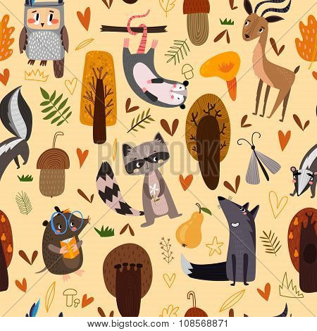 Autumn Seamless Pattern With Opossum, Owl, Raccoon, Wolf, Deer And Mole. Lovely Forest Background Wi