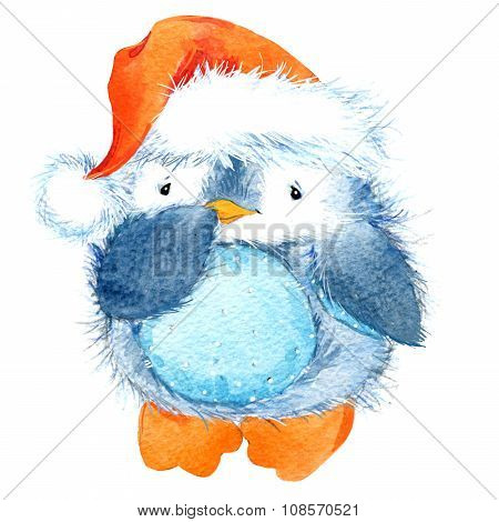 Cute fluffy bird penguin. Watercolor funny penguin.