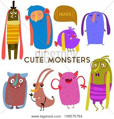 Sweet  Cartoon Monsters.cute Vector Set For Childish Design Collection. Fabulous Incredible Characte