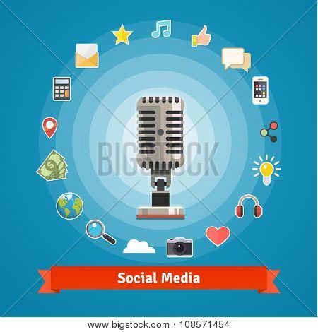 Social media marketing, podcasts recording studio