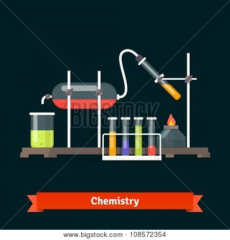 Chemical laboratory experiment and glassware