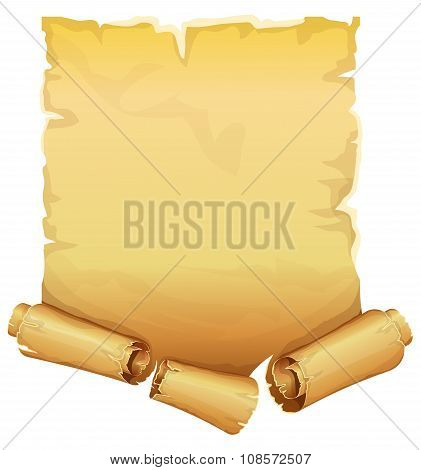 Big golden ribbon scroll of parchment