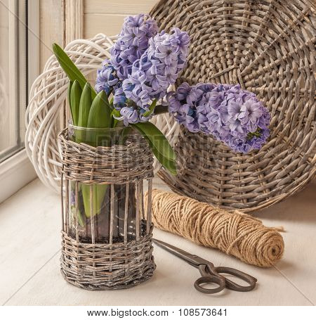 Hyacinths And  Scissors In The Window