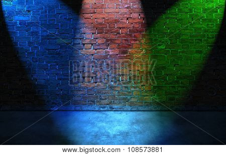 Colorful Rgb Spot Lights On Brick Wall