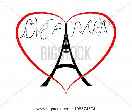 Love And Peace For Paris. Eiffel Tower In Heart.
