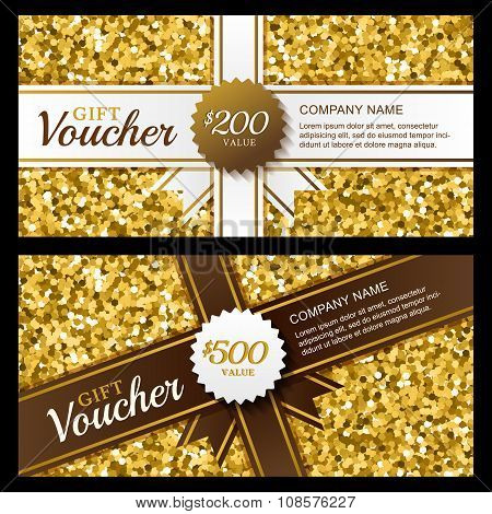 Vector Gift Voucher With Golden Sparkling Pattern And Ribbon.