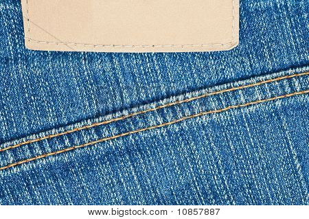 Blank Leather Label On Jeans