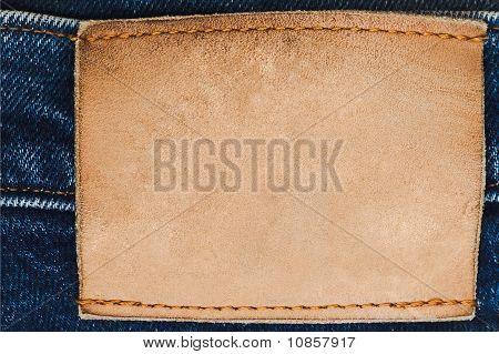 leere Leder Label auf jeans