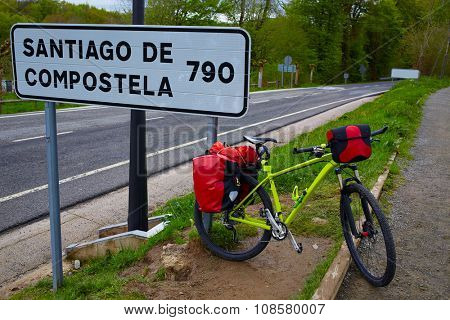 Roncesvalles begin of Way of Sain James biking sign of 790 km to Santiago poster