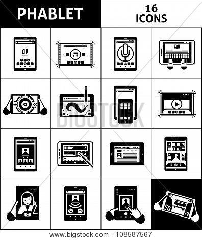 Phablet Black White Icons Set