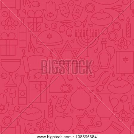 Thin Happy Hanukkah Line Holiday Seamless Pink Pattern