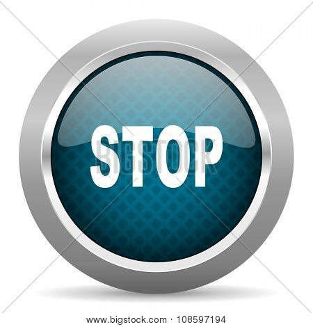 stop blue silver chrome border icon on white background