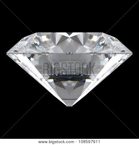 Brilliant Cut Diamond Orthographic Front View Isolated On Black Background