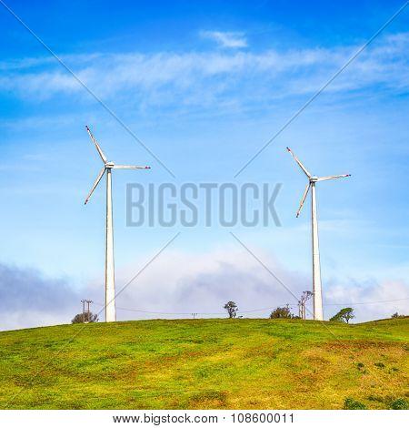 Horizontal Axis Wind Turbines near Nuwara Eliya. Sri Lankda poster