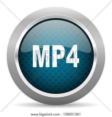mp4 blue silver chrome border icon on white background