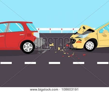 The driver did not have time to brake and crashed into two cars on the road. Vector illustration