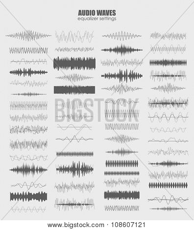 best set audio equalizer technology, pulse musical. Audio equalizer sound wave display horizontal. abstract isolated vector illustration