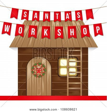 Santa Claus making Christmas gifts at Santa's workshop. The wooden house with a ladder and a Christm