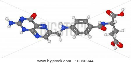 Ball And Stick Model Of Folic Acid Molecule