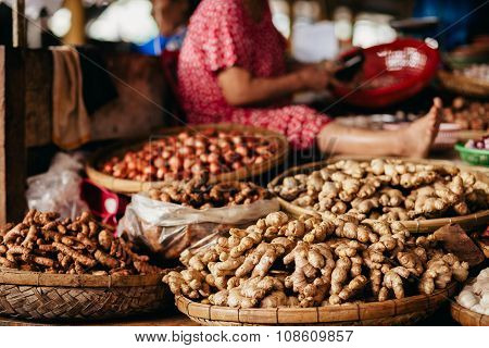 Ginger Root And Herbs At Asian Steet Market