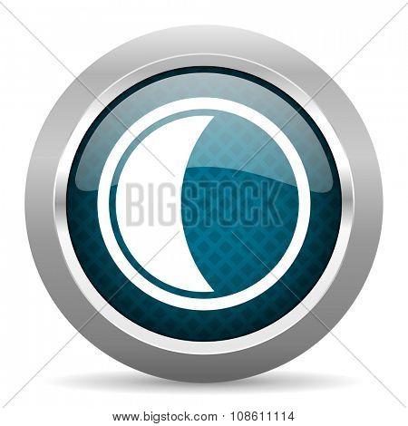 moon blue silver chrome border icon on white background