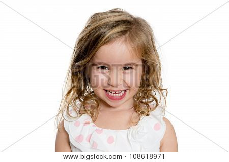 Cute Blond Girl Smiling To You Genuinely