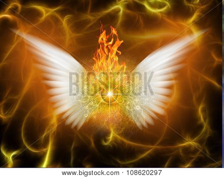 White winged being of fire poster