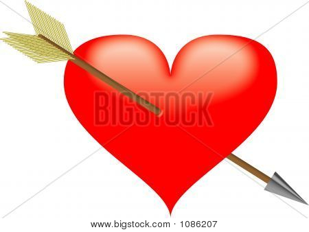 Red Darted Heart - Vector Illustration