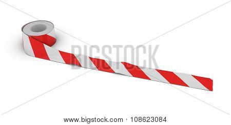 Red And White Striped Tape Roll Unrolled Across White Floor